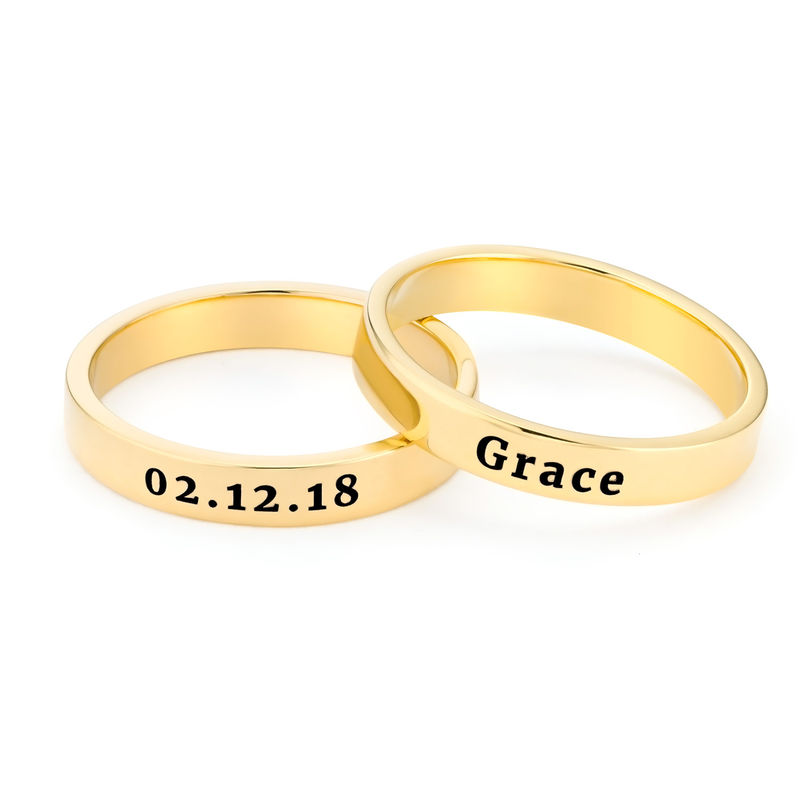 Engraved Thin Band Ring in Gold Plating - 4