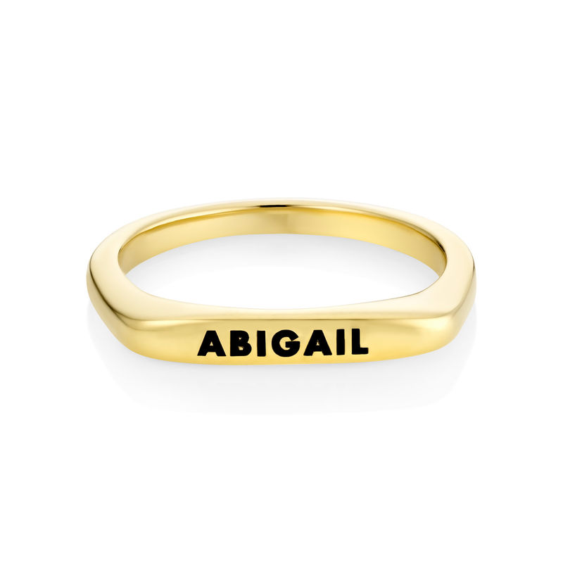 Stackable Rectangular Name Ring in Gold Plating - 1