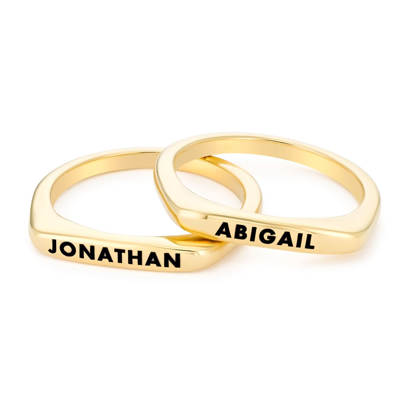 Stackable Rectangular Name Ring in Gold Plating - 2