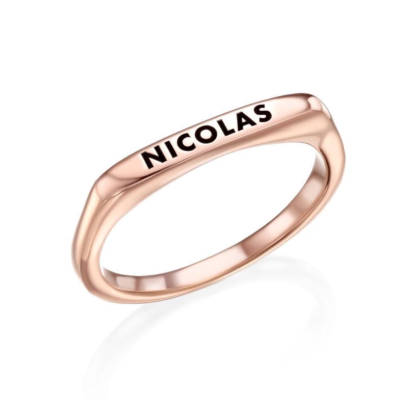 Stackable Rectangular Name Ring in Rose Gold Plating