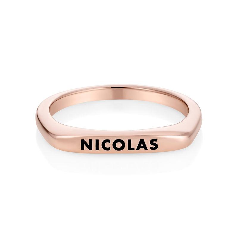 Stackable Rectangular Name Ring in Rose Gold Plating - 1