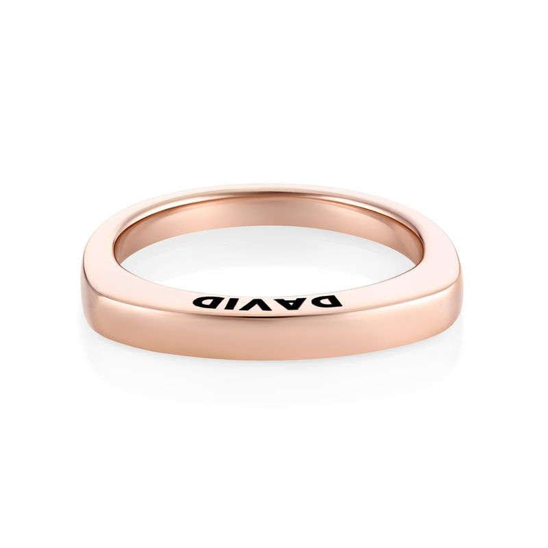 Engraved Square Ring Band in Rose Gold Plating - 1