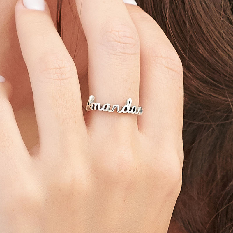 Personalized Birthstone Name Ring in Sterling Silver - 3