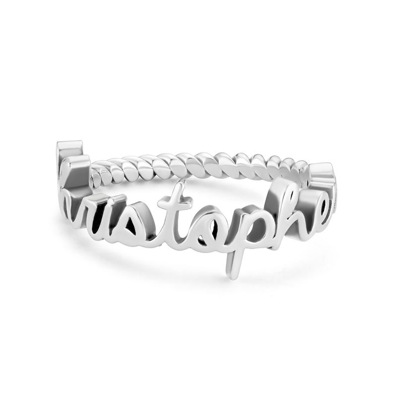 Personalized Birthstone Name Ring with Rope Band in Sterling Silver - 1