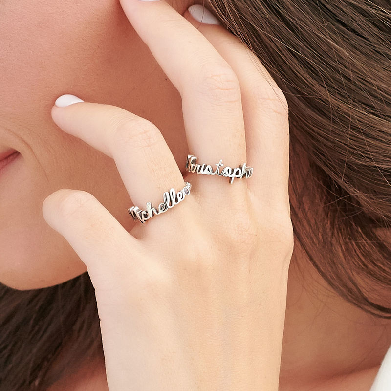 Personalized Birthstone Name Ring with Rope Band in Sterling Silver - 3