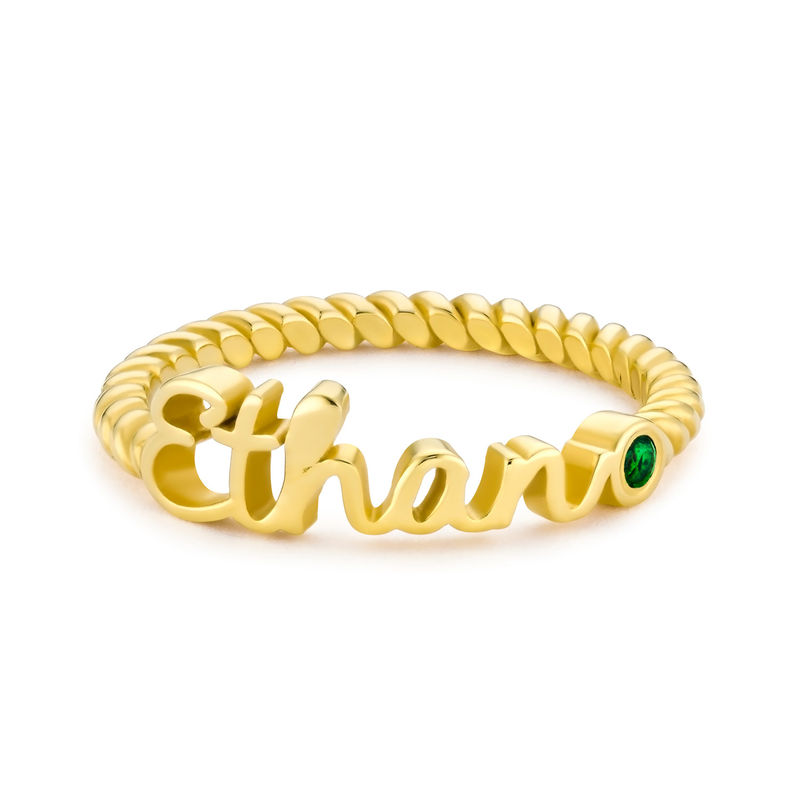 Personalized Birthstone Name Ring with Rope Band in Gold Plating - 1