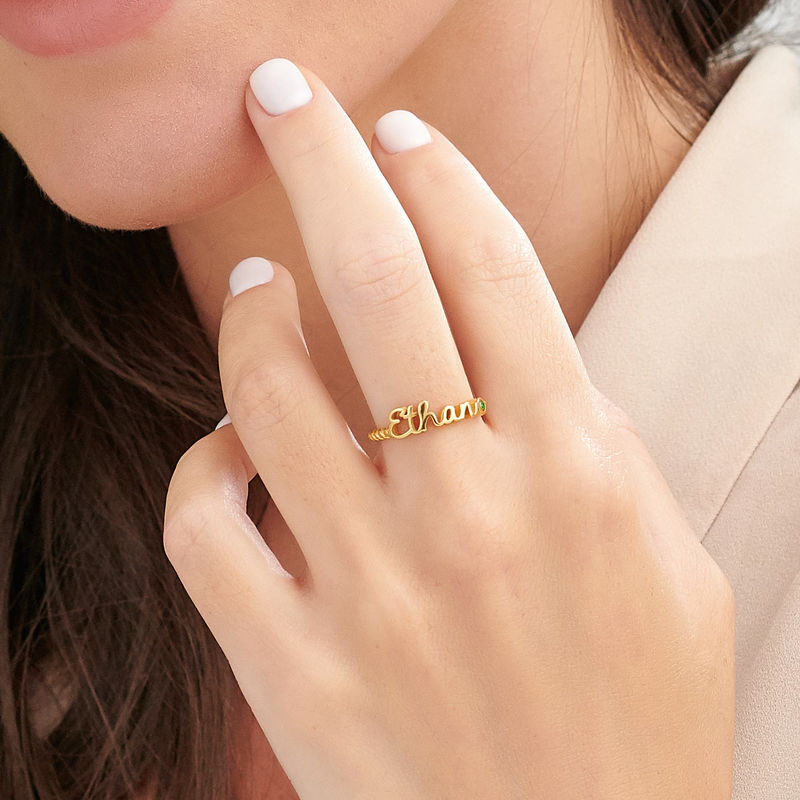 Personalized Birthstone Name Ring with Rope Band in Gold Plating - 4