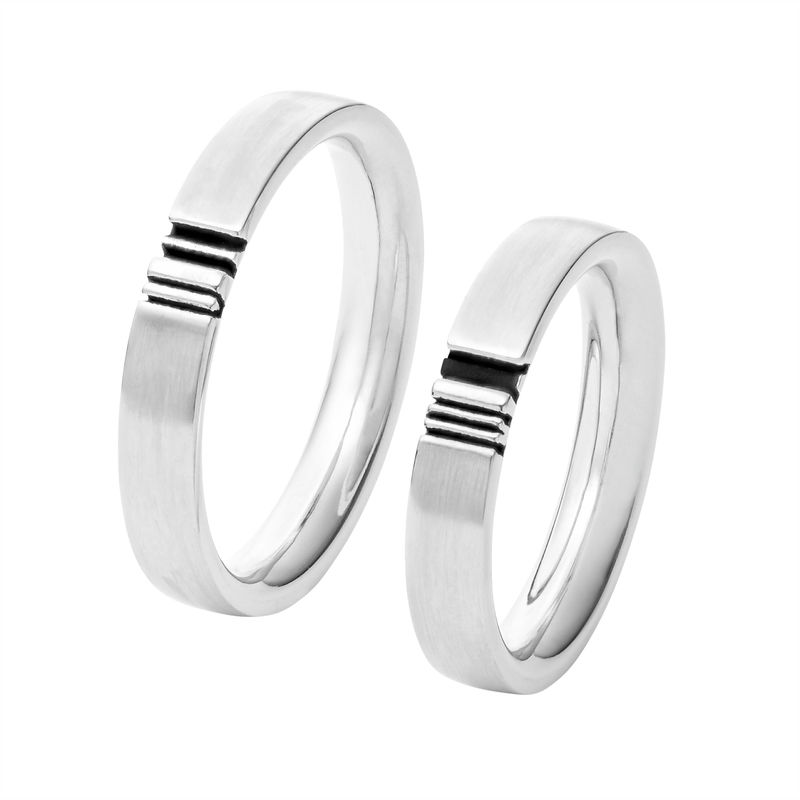 Matching Initial Couple Rings Set in Silver