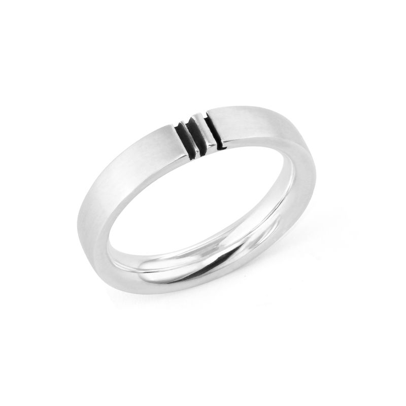 Matching Initial Couple Rings Set in Silver - 3