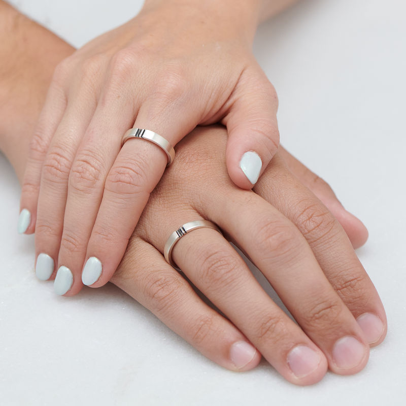 Matching Initial Couple Rings Set in Silver - 4