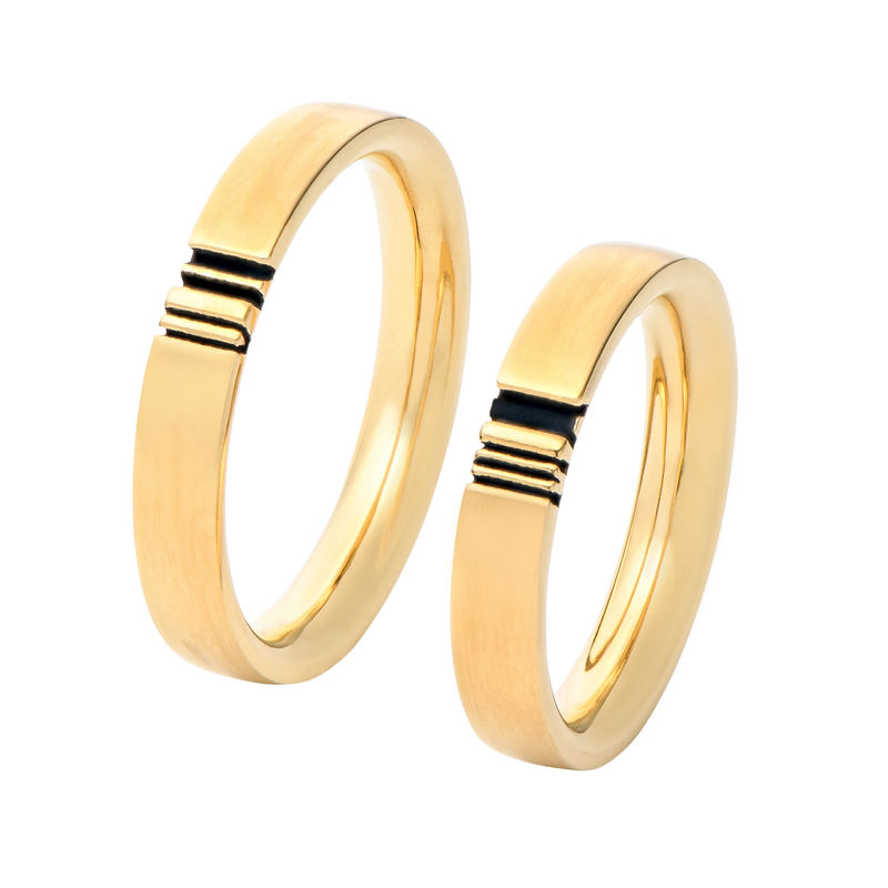 Matching Initial Couple Rings Set in Gold Plating