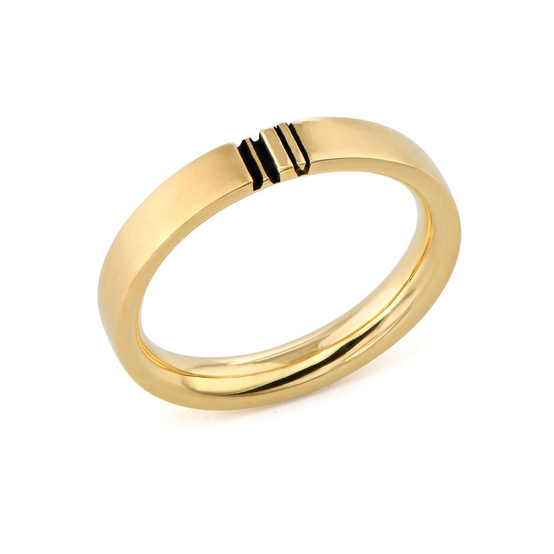 Matching Initial Couple Rings Set in Gold Plating - 2