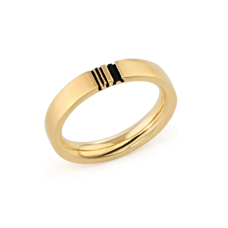 Matching Initial Couple Rings Set in Gold Plating - 3