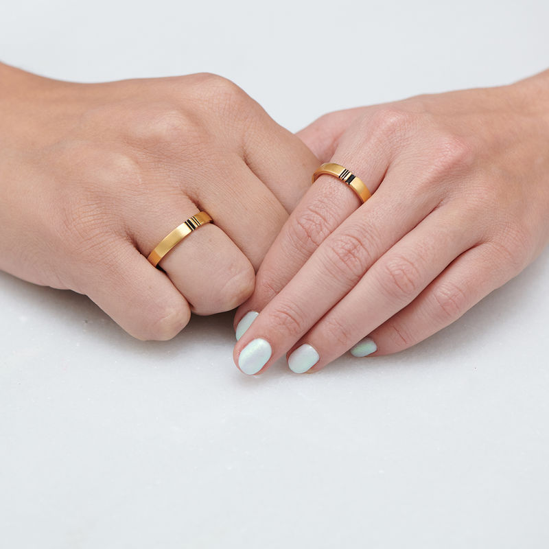 Matching Initial Couple Rings Set in Gold Plating - 4