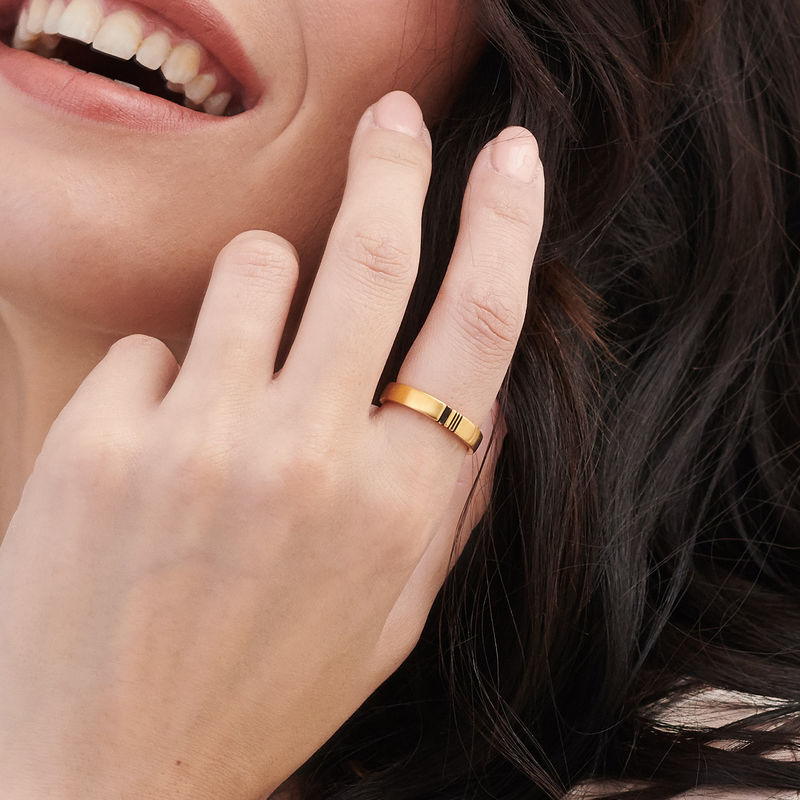 Matching Initial Couple Rings Set in Gold Plating - 6