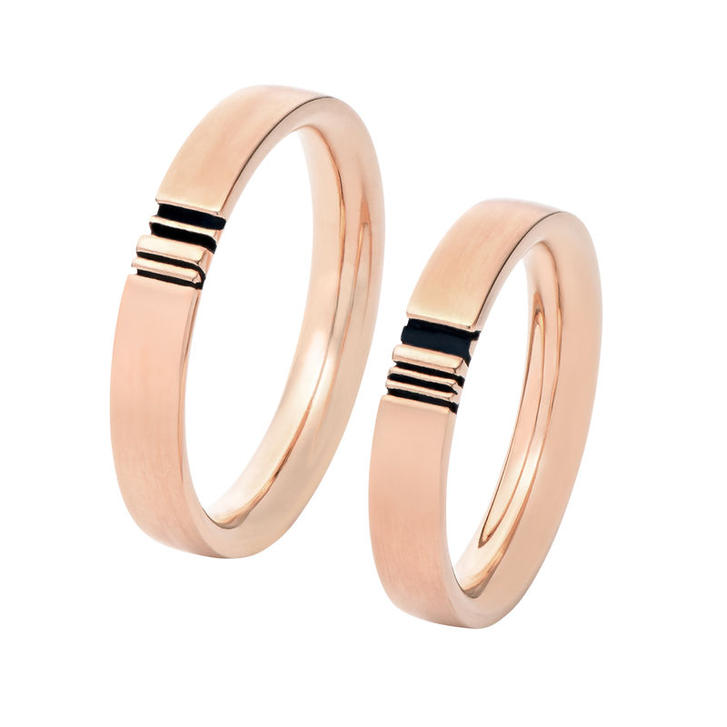 Matching Initial Couple Rings Set in Rose Gold Plating