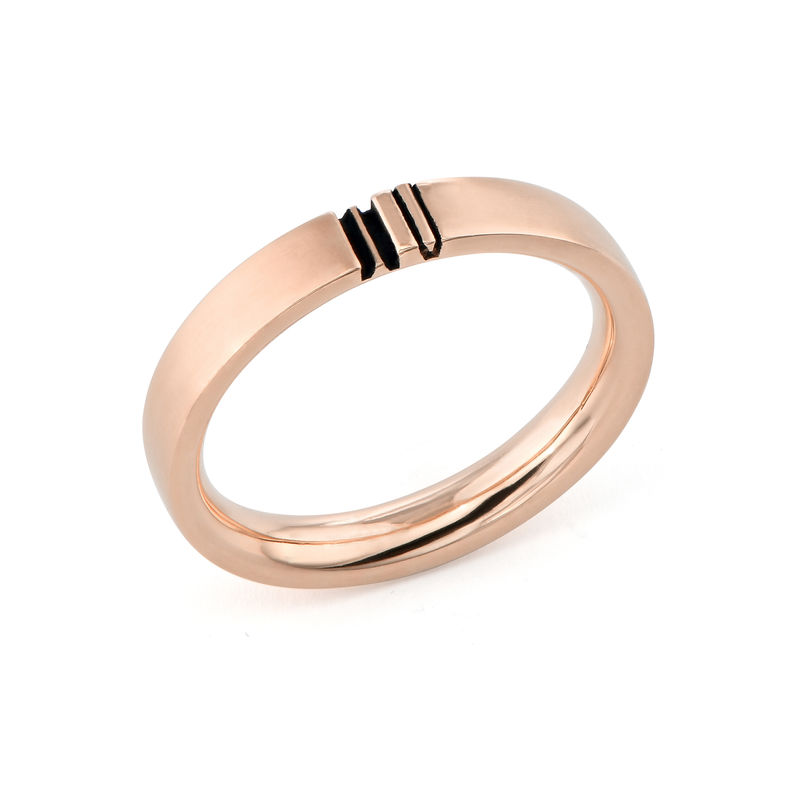 Matching Initial Couple Rings Set in Rose Gold Plating - 2