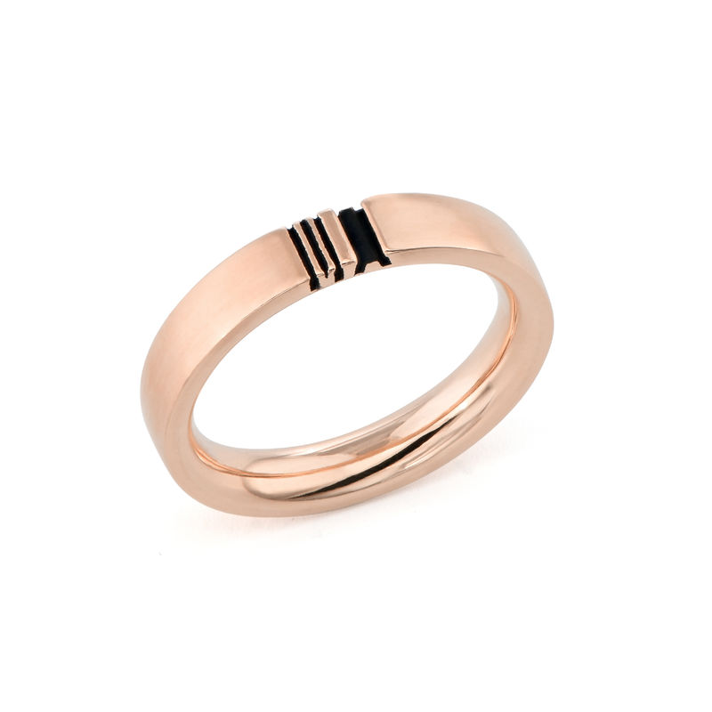 Matching Initial Couple Rings Set in Rose Gold Plating - 3