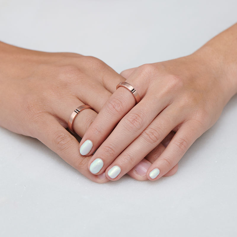 Matching Initial Couple Rings Set in Rose Gold Plating - 4