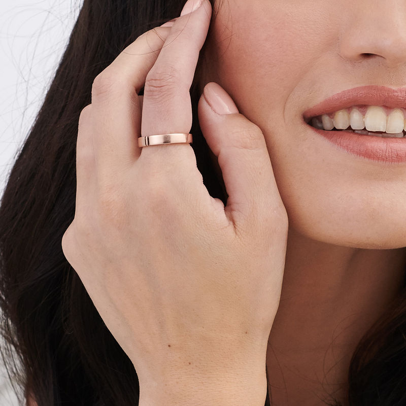 Matching Initial Couple Rings Set in Rose Gold Plating - 6