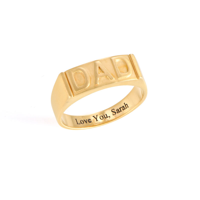 Dad Ring with Backside Engraving in 18K Gold Plating