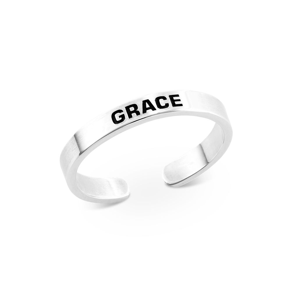 Open Adjustable Engraved Name Ring in Sterling Silver
