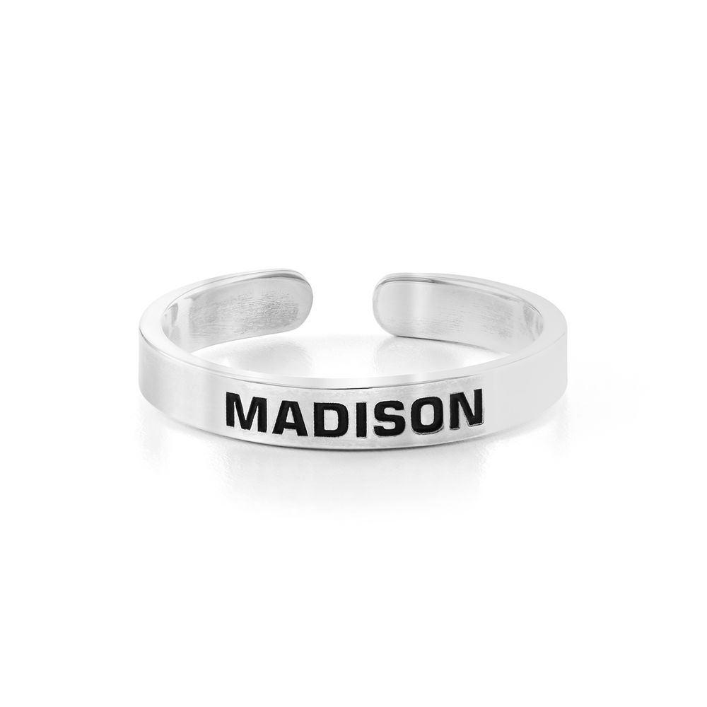 Open Adjustable Engraved Name Ring in Sterling Silver - 1