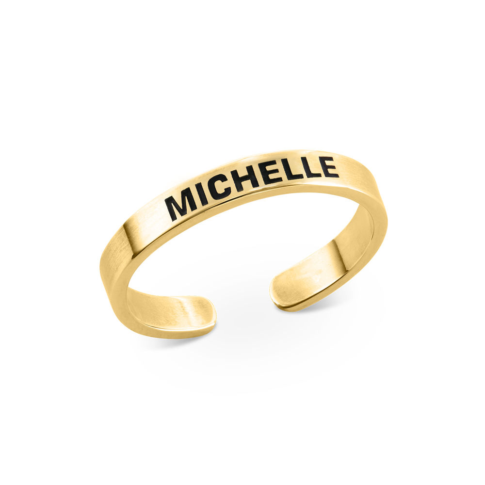 Open Adjustable Engraved Name Ring in Gold Plating