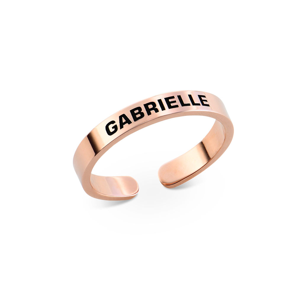 Open Adjustable Engraved Name Ring in Rose Gold Plating
