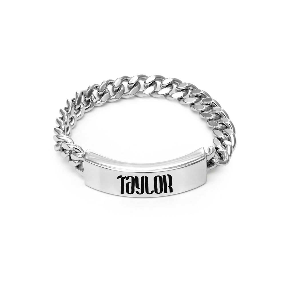 Engraved Name Link Ring in Sterling Siver