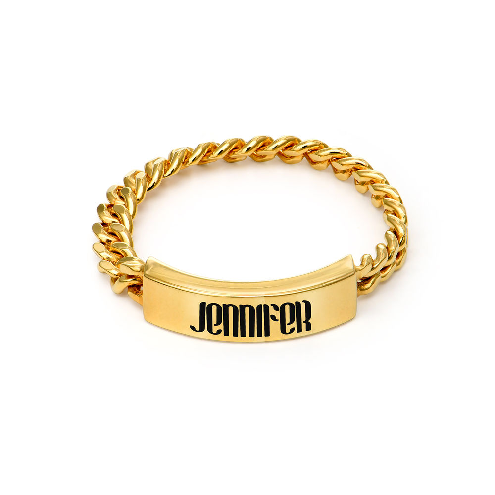 Engraved Name Link Ring in Gold Plating