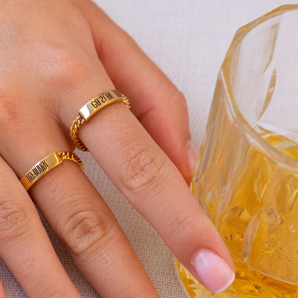Engraved Name Link Ring in Gold Plating - 1