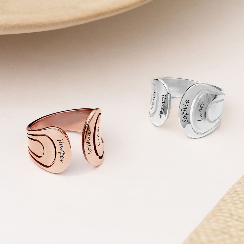 Hug Ring with Kids Names in Sterling Silver - 2