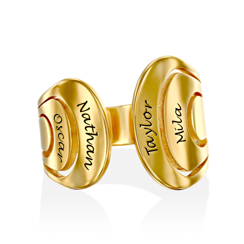 Hug Ring with Kids Name in Gold Plating - 1