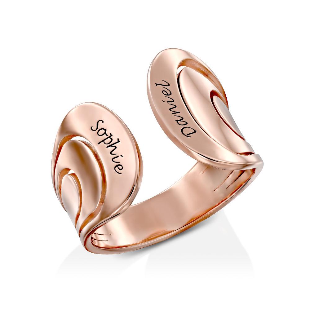 Hug Ring with Kids Name in Rose Gold Plating