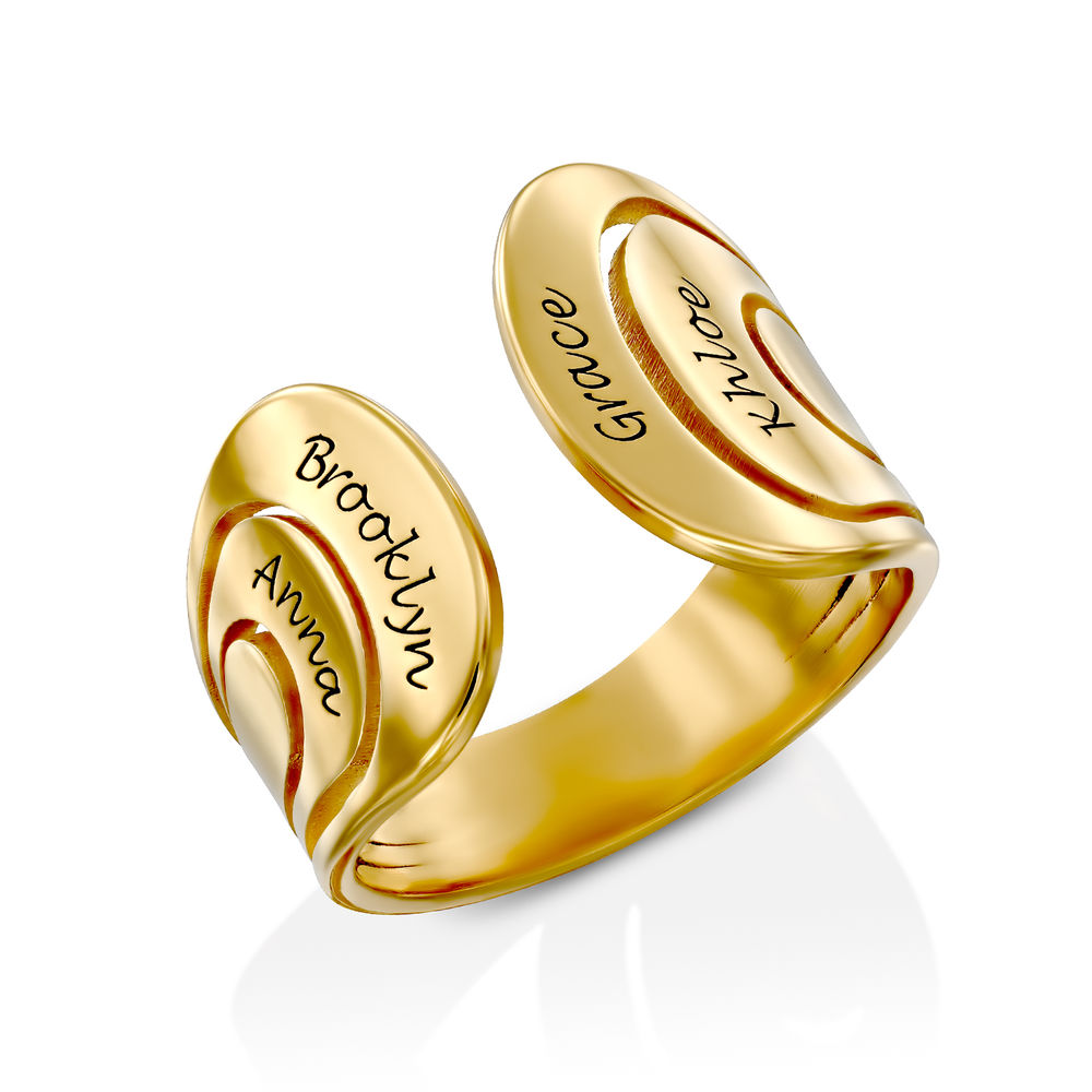 Hug Ring with Kids Names in Gold Vermeil