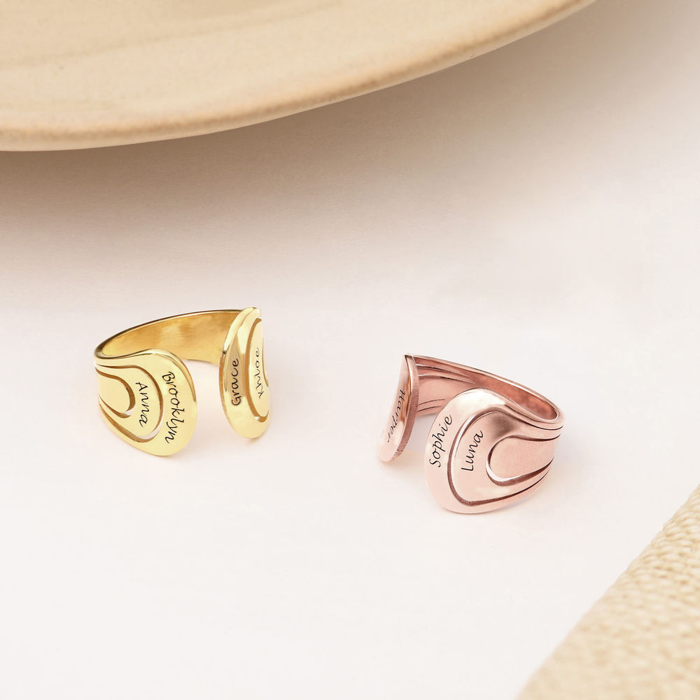 Hug Ring with Kids Names in Gold Vermeil - 2