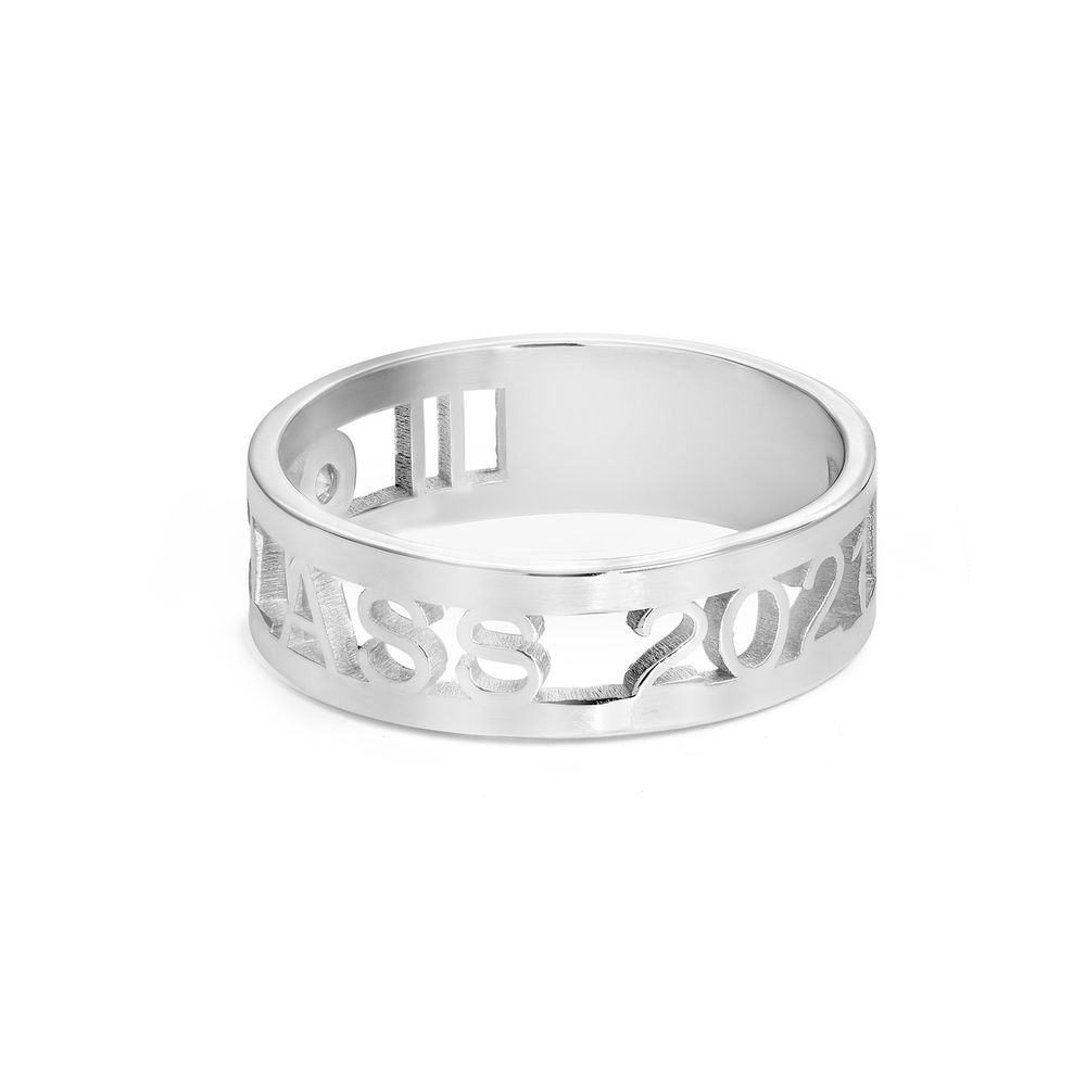Custom Graduation Ring with Cubic Zirconia in Sterling Silver - 1