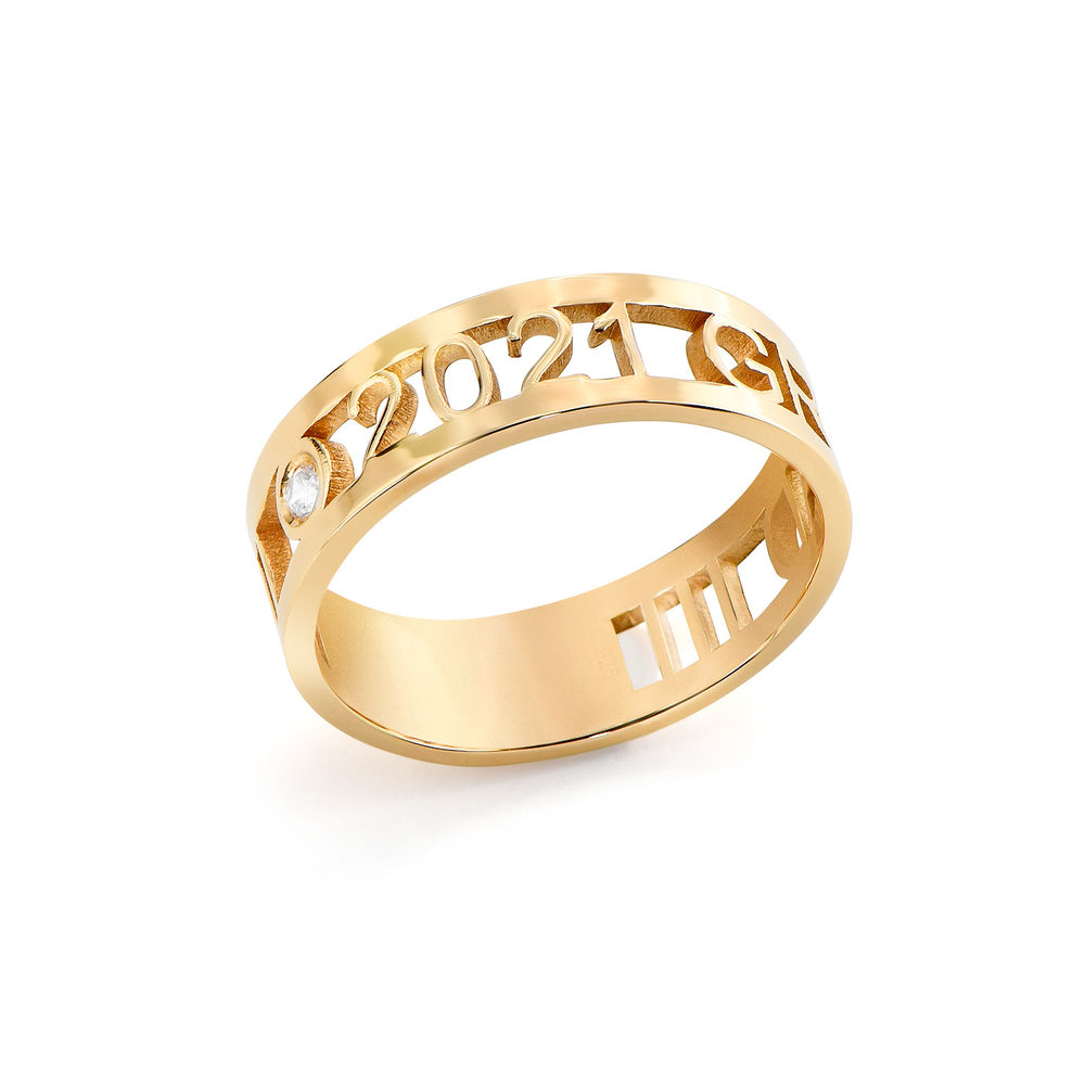 Custom Graduation Ring with cubic zirconia in gold plating