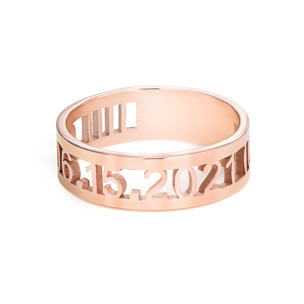 Custom Graduation Ring with Cubic Zirconia in Rose Gold Plating - 1