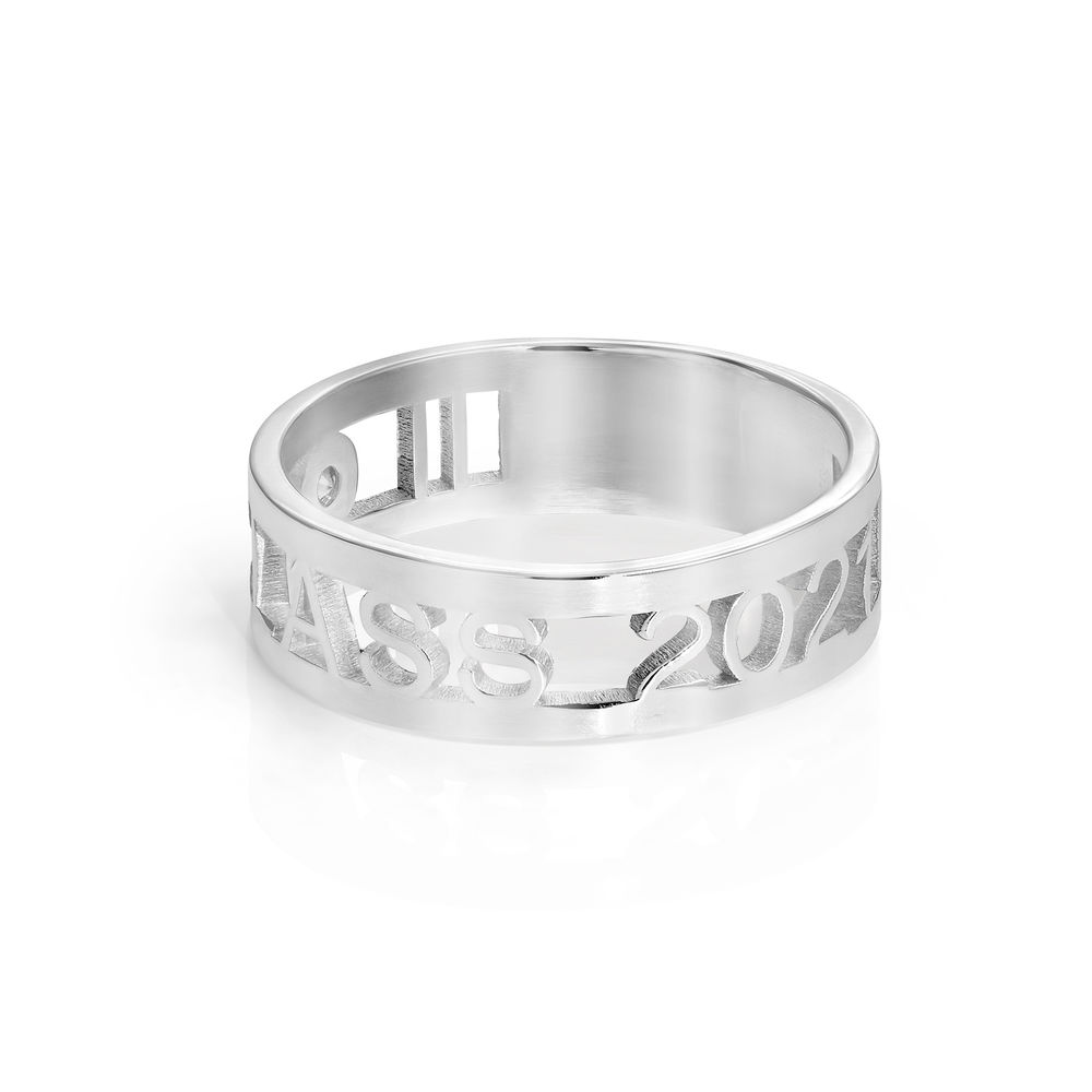 Custom Graduation Ring with Diamond in Sterling Silver - 1