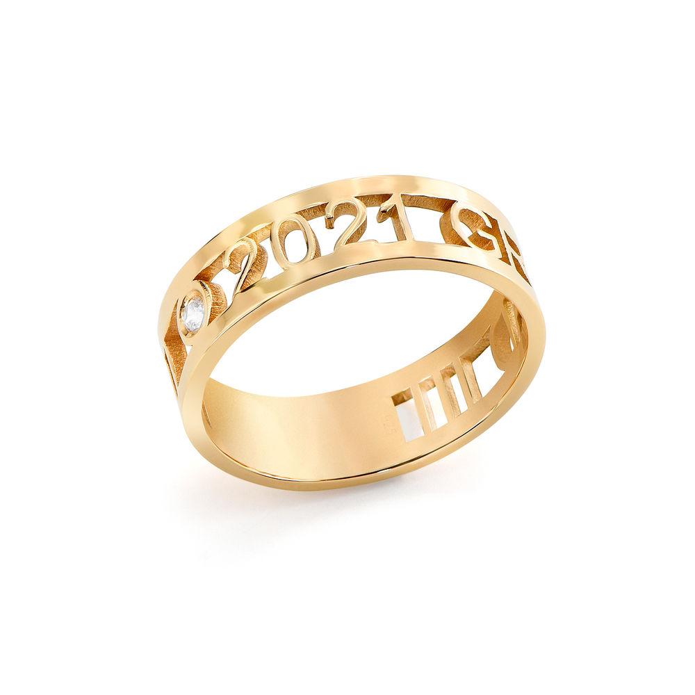 Custom Graduation Ring with Diamond in Gold Plating