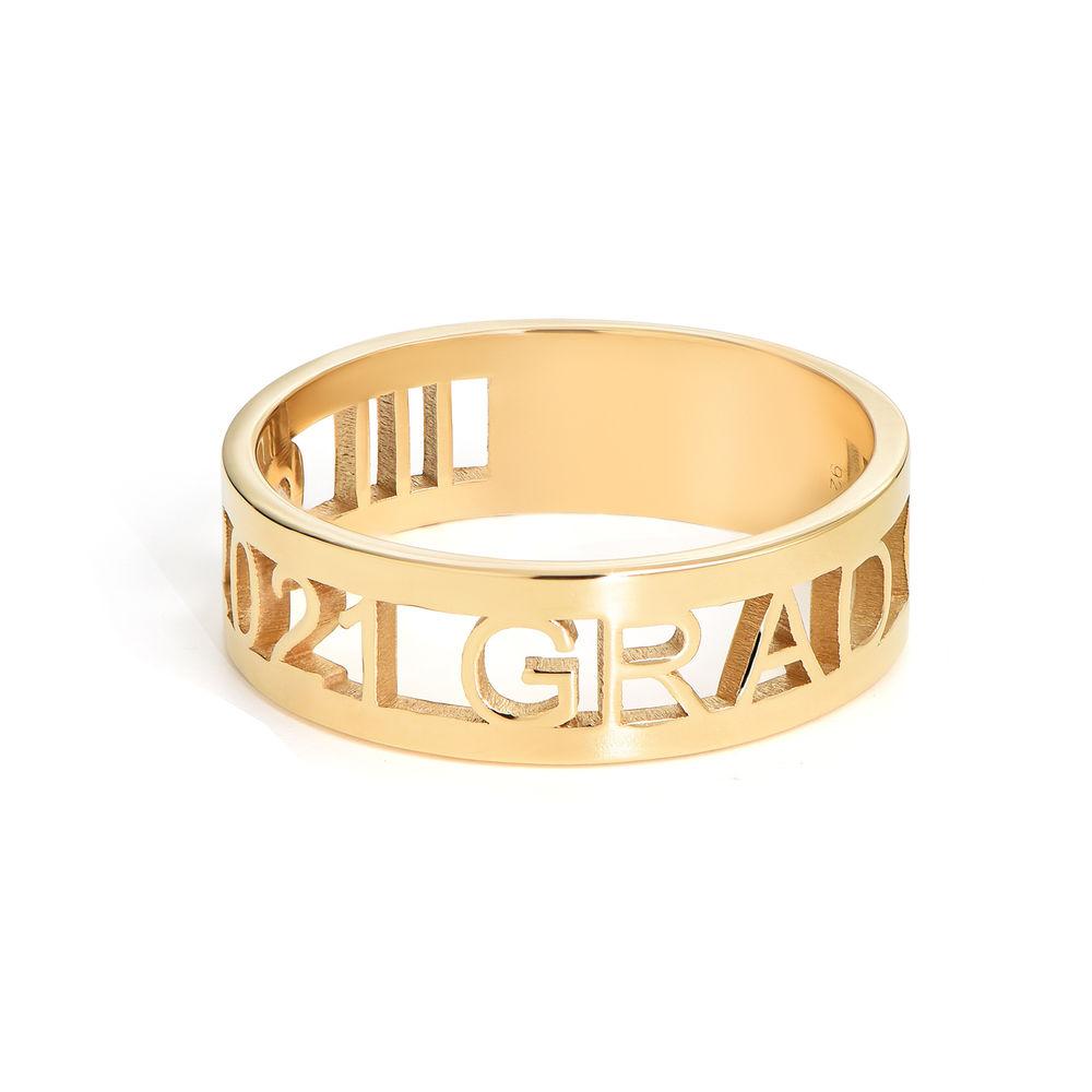 Custom Graduation Ring with Diamond in Gold Plating - 1