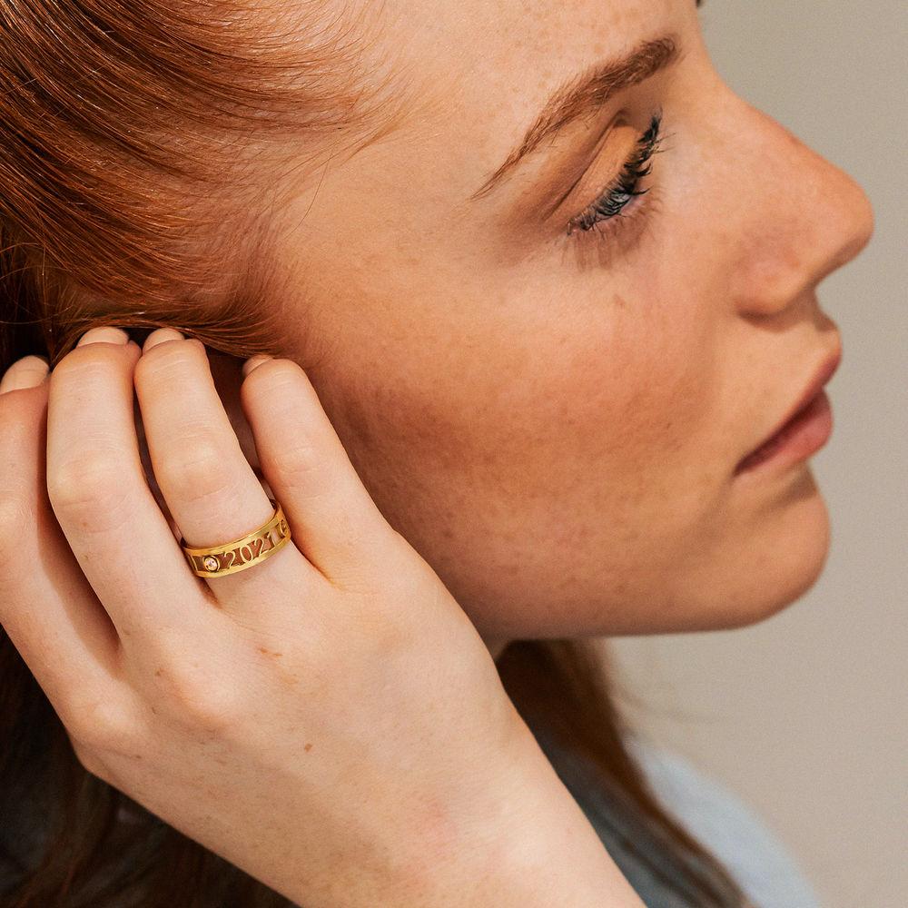 Custom Graduation Ring with Diamond in Gold Plating - 2