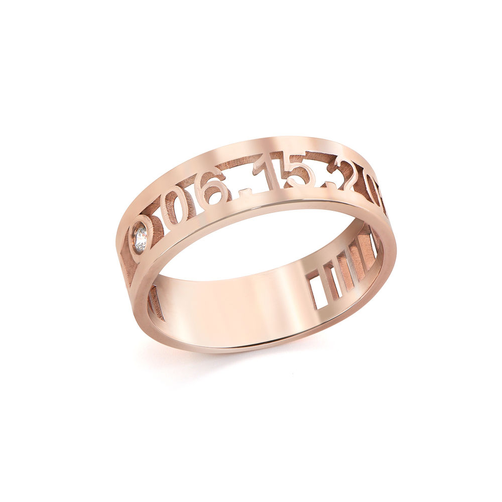 Custom Graduation Ring with Diamond in Rose Gold Plating