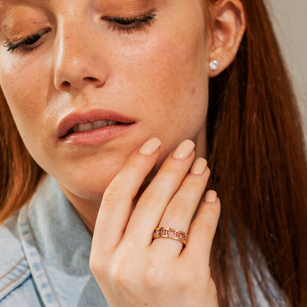 Custom Graduation Ring with Diamond in Rose Gold Plating - 2