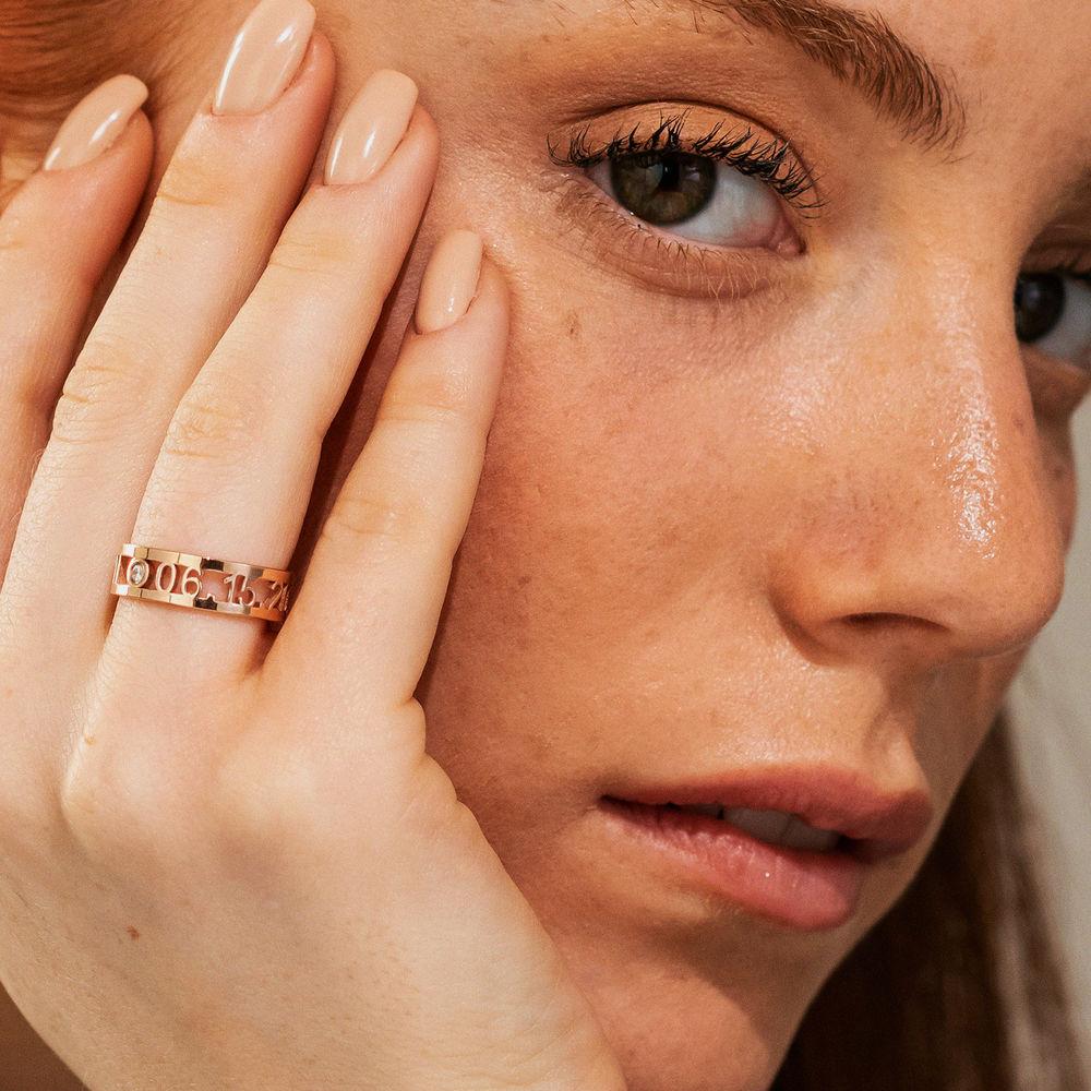 Custom Graduation Ring with Diamond in Rose Gold Plating - 3