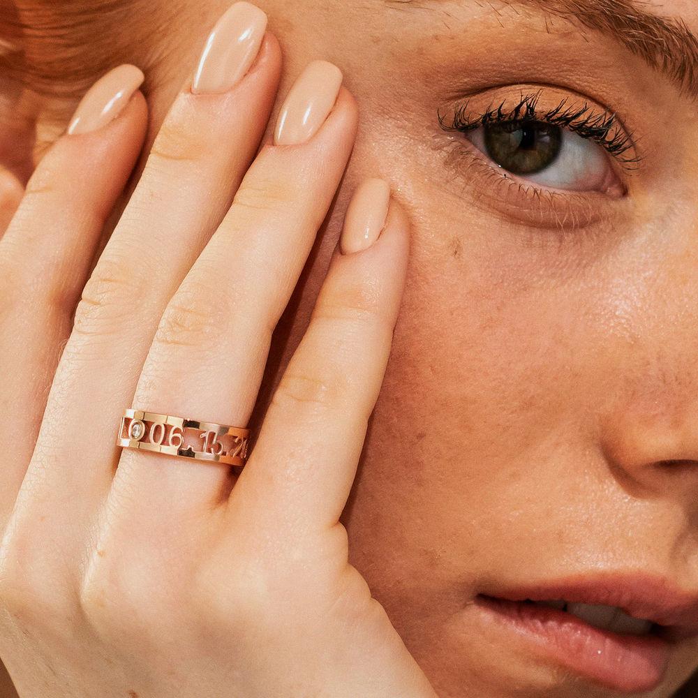 Custom Graduation Ring with Diamond in Rose Gold Plating - 4