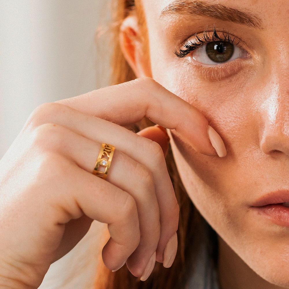 Custom Graduation Ring with Diamond in Gold Vermeil - 3