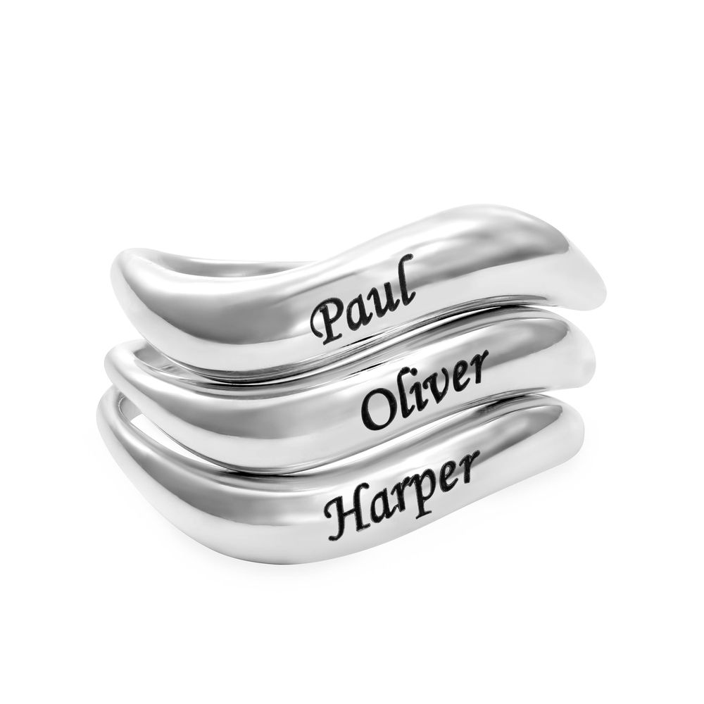 Stackable Wavy Name Ring in Sterling Silver - 2